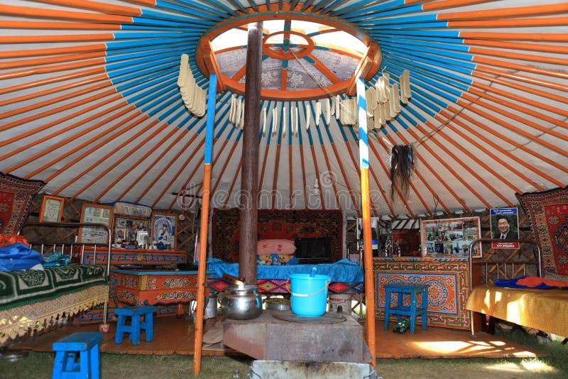 Yurt van binnenuit stock afbeeldingen