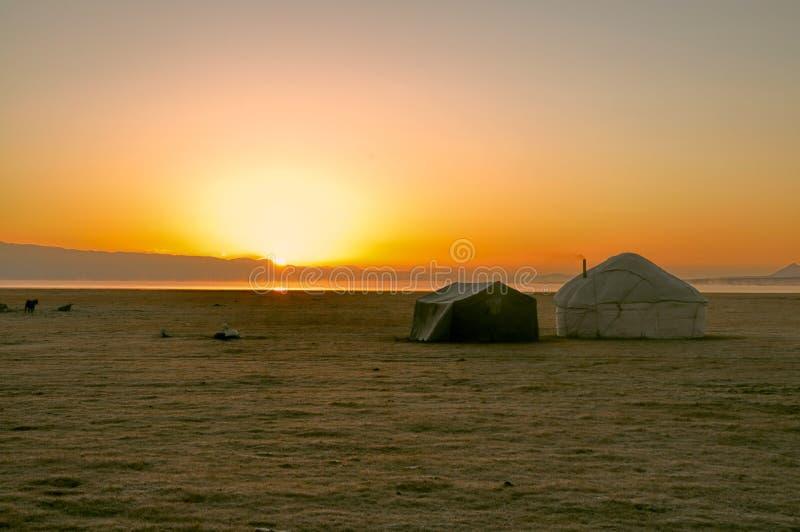 Yurts在吉尔吉斯斯坦 免版税库存图片