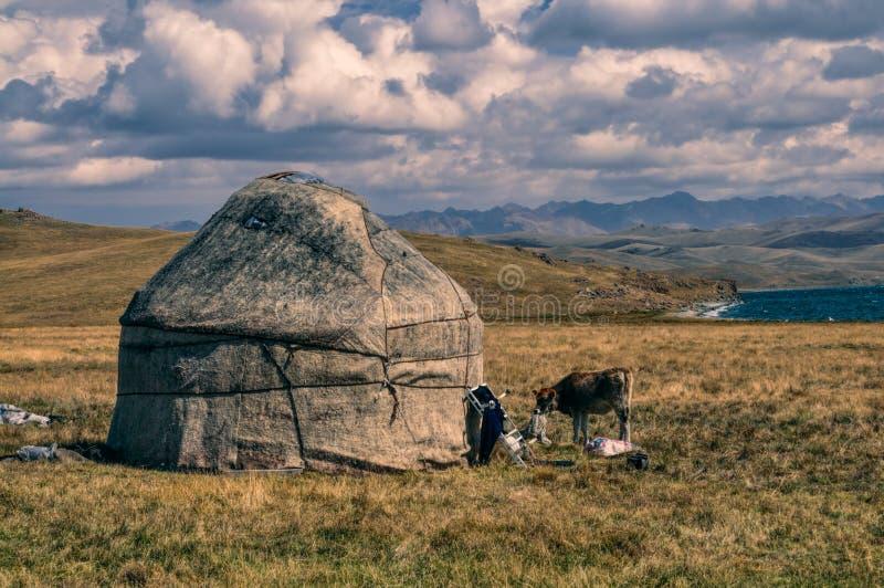 Yurts在吉尔吉斯斯坦 库存照片