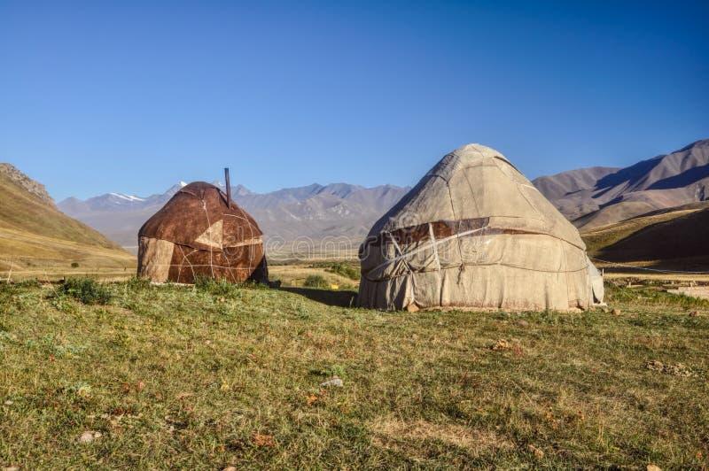 Yurts在吉尔吉斯斯坦 免版税库存照片