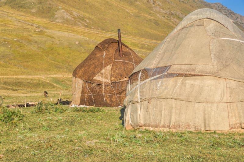 Yurts在吉尔吉斯斯坦 免版税图库摄影