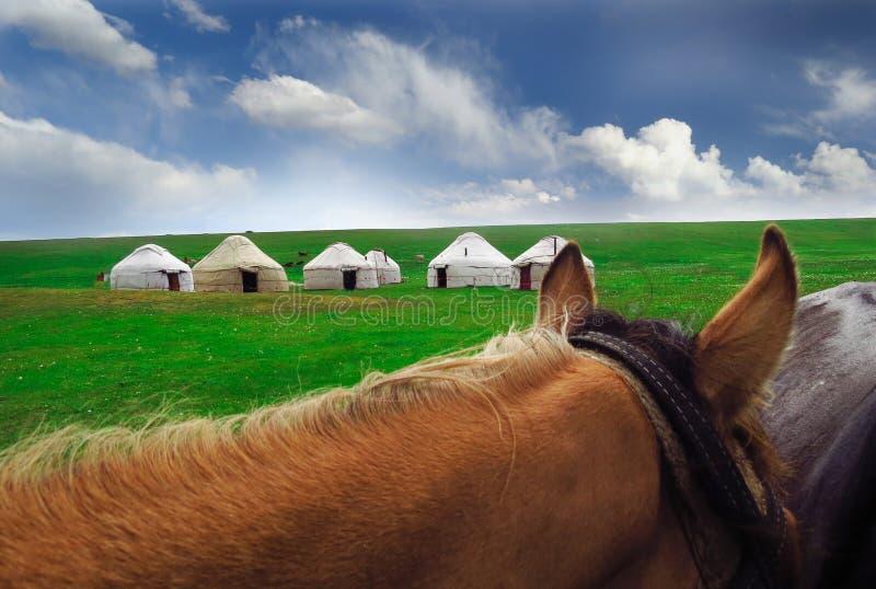 Yurts και άλογο στο Κιργιστάν στοκ εικόνες με δικαίωμα ελεύθερης χρήσης