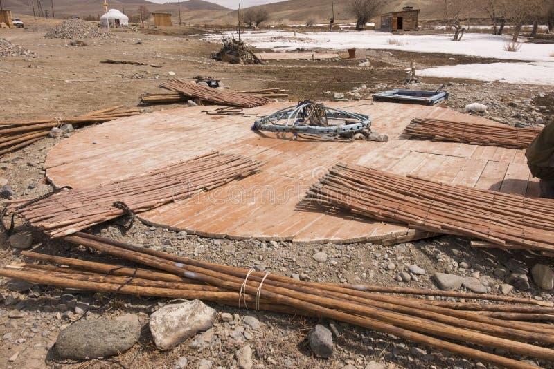 Yurts de Turkic de construction photographie stock libre de droits