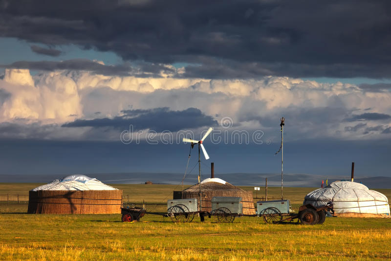 Yurts on the grassland. Nomads on the steppe, in Inner Mongolia stock photography