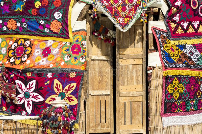 Yurts in Uzbekistan, traditional crafts and patterns. royalty free stock photography