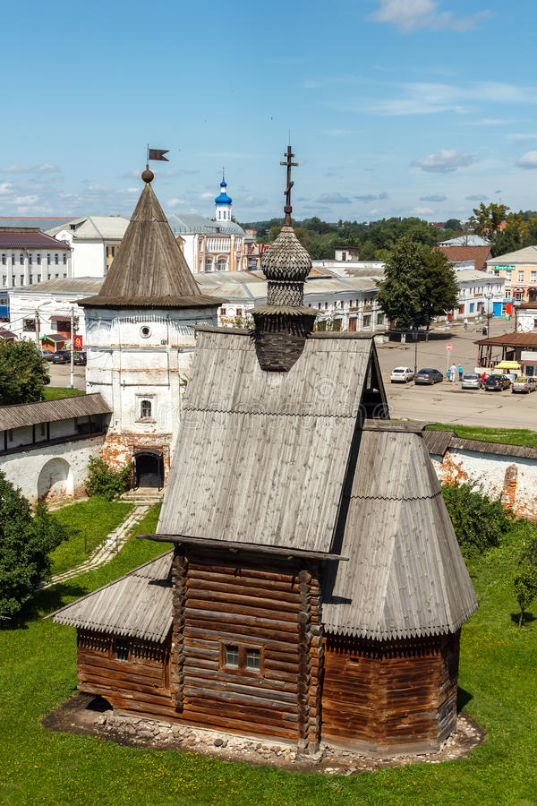 Yuryev-Polsky. Wooden church of St. George stock image