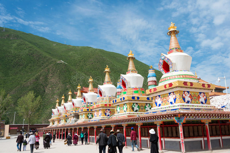 YUSHU(JYEKUNDO), CHINA - Jul 13 2014: Mani Temple(Mani Shicheng). a famous landmark in the Tibetan city of Yushu, Qinghai, China. royalty free stock image