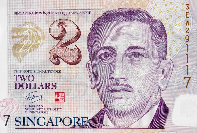 Yusof bin Ishak portrait on Singapore 2 dollar banknote closeup royalty free stock photo