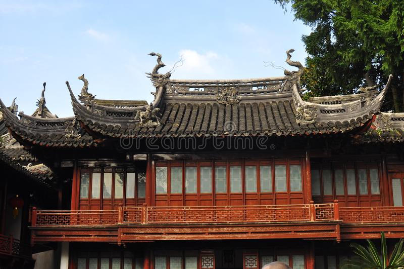 Yuyuan trädgård, Yu Yuan Park Temple arkivbilder