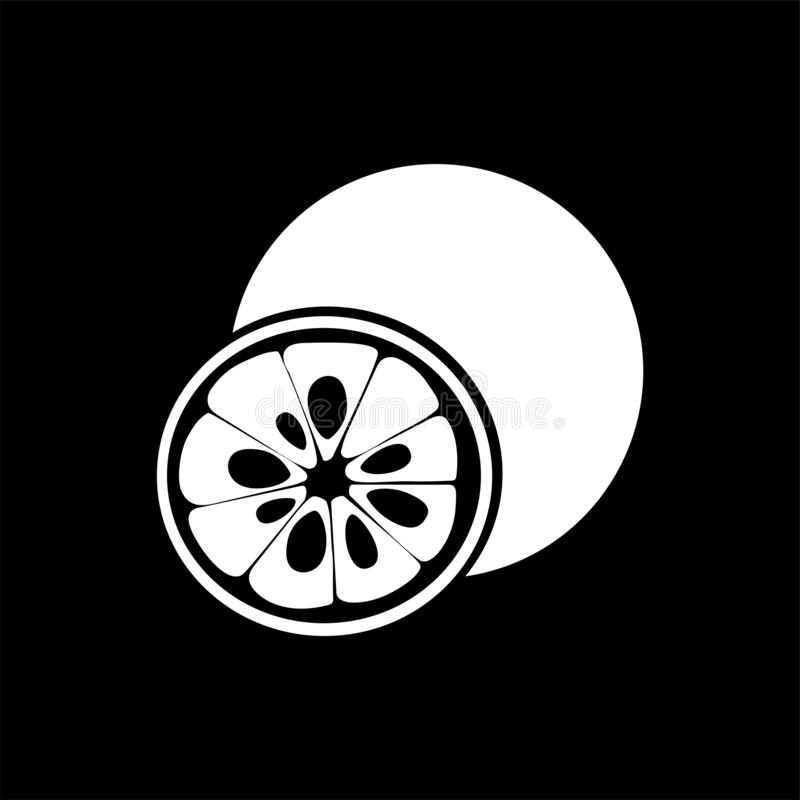 Yuzu柑桔象 白色剪影平的样式传染媒介例证 向量例证