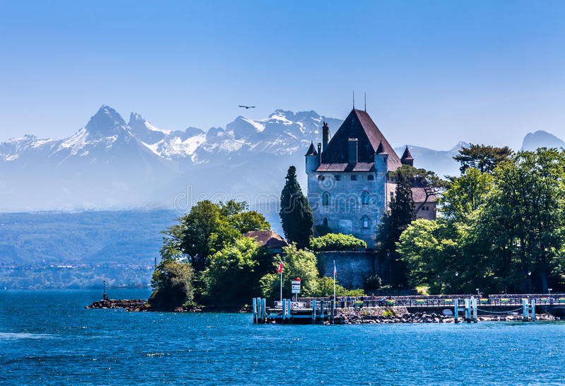 Yvoire i Alps obrazy stock