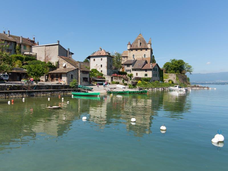 Yvoire on Lake Geneva, France stock photos