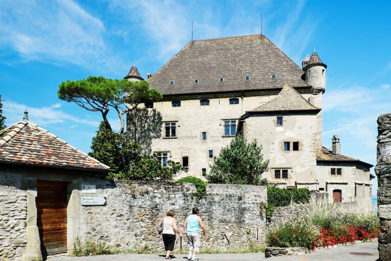 Yvoirekasteel, Haute Savoie, Meer Genève, Frankrijk stock foto's