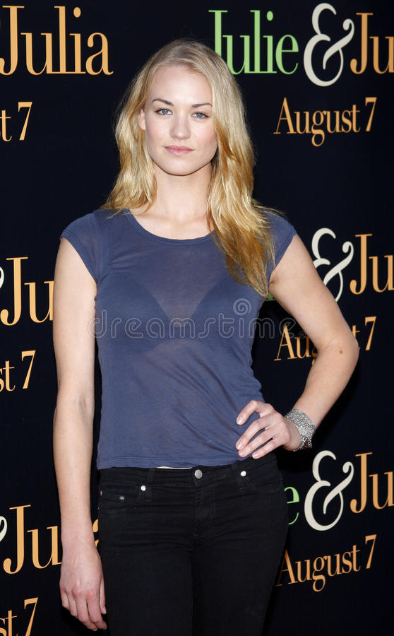Yvonne Strahovski. At the Los Angeles premiere of 'Julie and Julia' held at the Mann Village Theatre in Westwood, USA stock image
