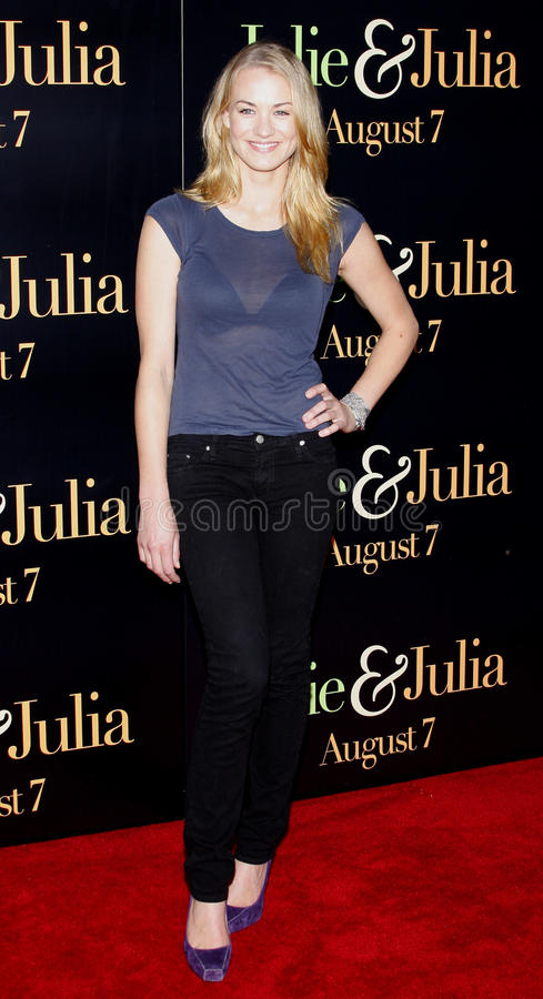 Yvonne Strahovski. At the Los Angeles premiere of 'Julie and Julia' held at the Mann Village Theatre in Westwood, USA royalty free stock photography