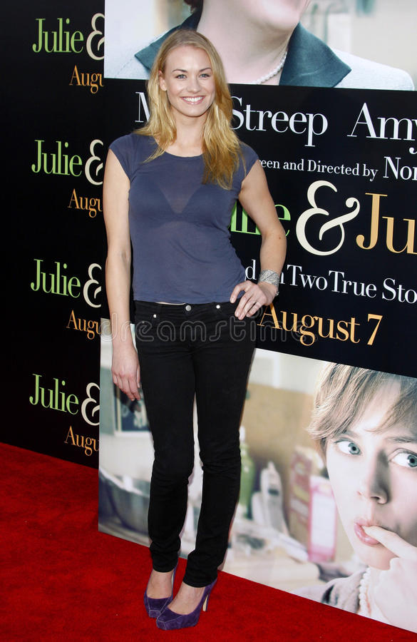 Yvonne Strahovski. At the Los Angeles premiere of 'Julie and Julia' held at the Mann Village Theatre in Westwood, USA royalty free stock photos