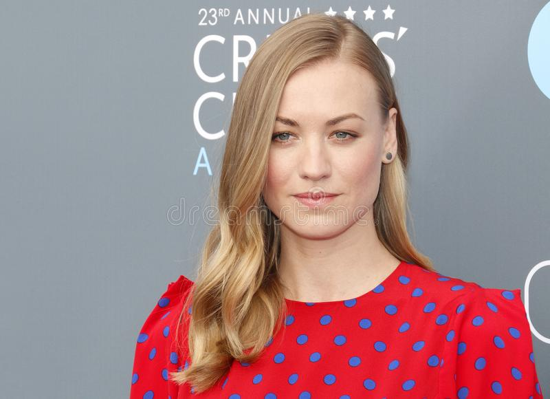 Yvonne Strahovski. At the 23rd Annual Critics` Choice Awards held at the Barker Hangar in Santa Monica, USA on January 11, 2018 stock images