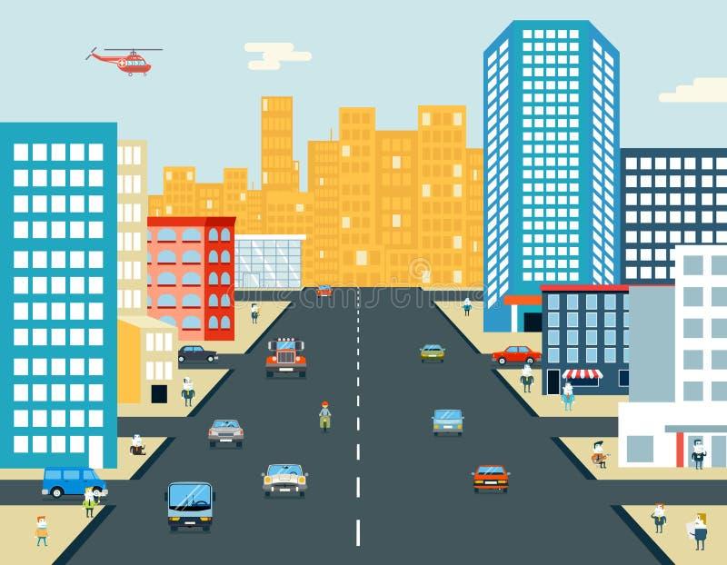 Żywego miasta życia przejażdżki Samochodowego tła Uliczni ludzie royalty ilustracja