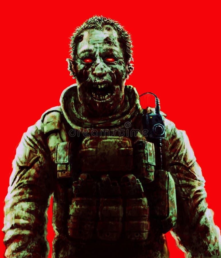 Żywego trupu żołnierza krzyka pojęcie Rysunkowy straszny charakteru illustrati ilustracji