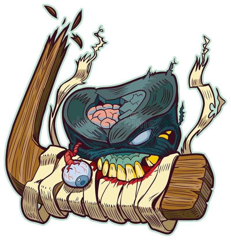 Żywego trupu krążek hokojowy Gryźć Hokejowego kija wektoru kreskówkę ilustracja wektor
