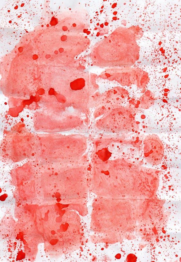 Żywego watercolour abstrakcjonistyczny rysunkowy czerwony upaćkany tło royalty ilustracja