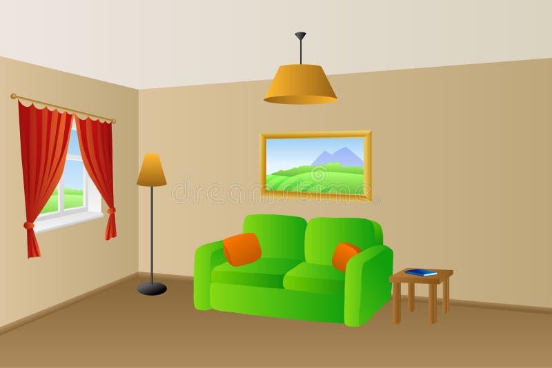 Żywej izbowej beż zieleni kanapy poduszek lamp okno pomarańczowa ilustracja royalty ilustracja