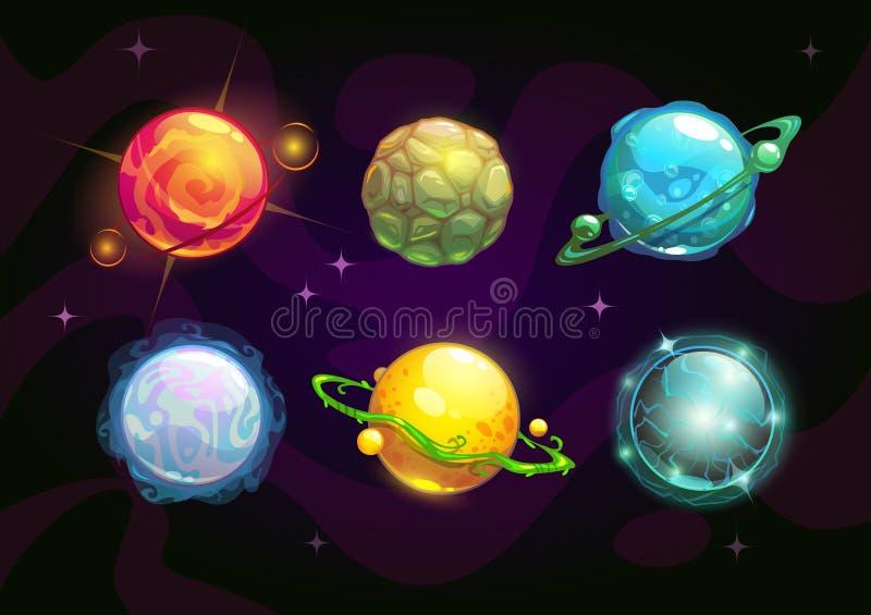 Żywiołowe planety, fantazi przestrzeni set ilustracja wektor