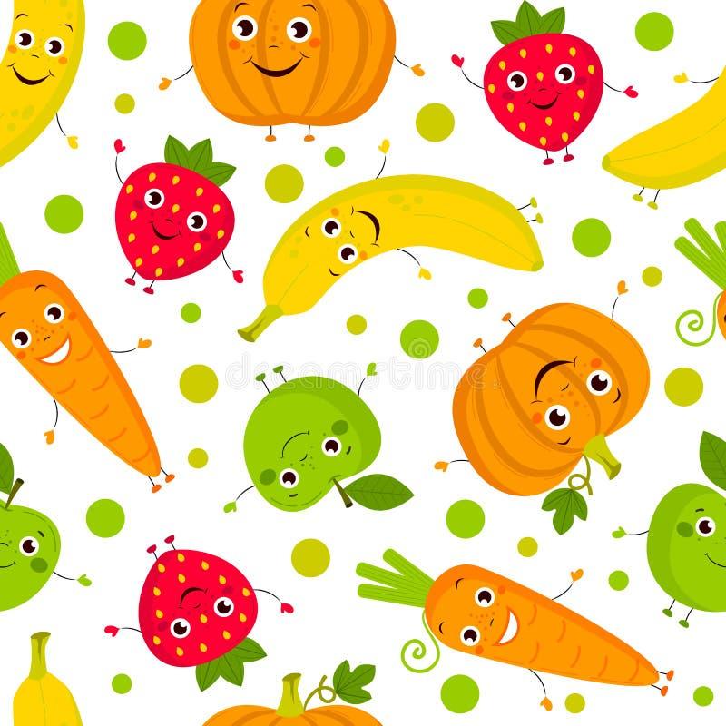 Żywność organiczna bezszwowy wzór ilustracja wektor