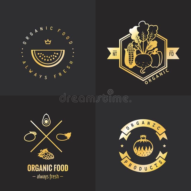 Żywność organiczna loga rocznika wektoru złocisty set Część jeden ilustracja wektor