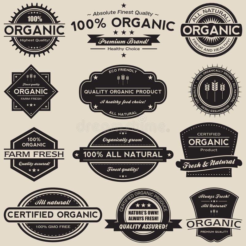 Żywność Organiczna Przylepia etykietkę Wektorowego kolekcja set ilustracja wektor
