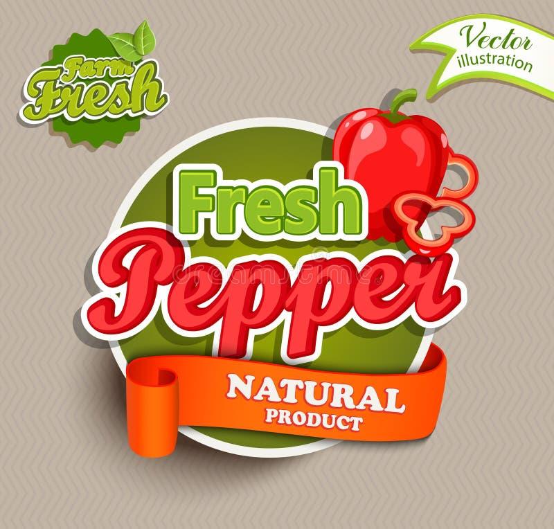 Żywności organicznej etykietka - świeży pieprzowy logo royalty ilustracja