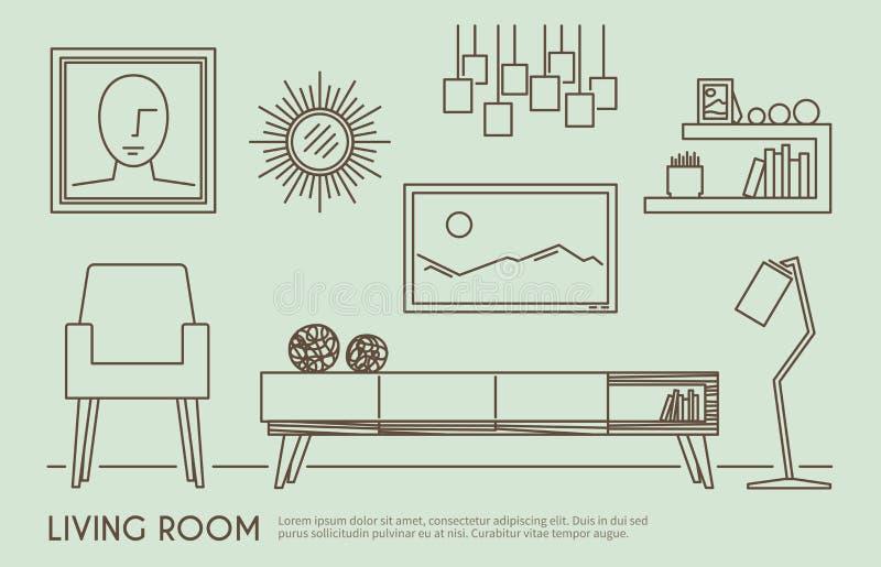 Żywy Izbowy meble ilustracji