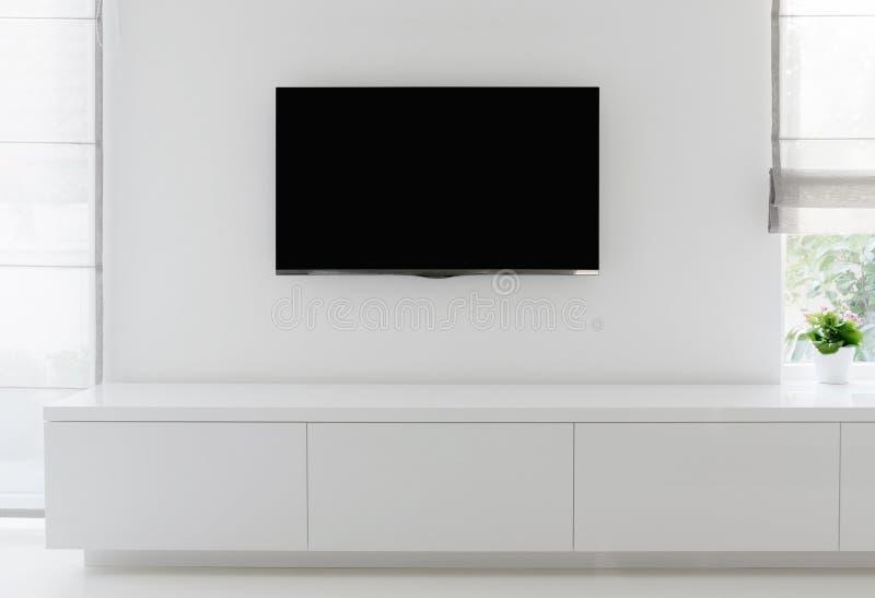 Żywy izbowy szczegół tv na ścianie obraz stock
