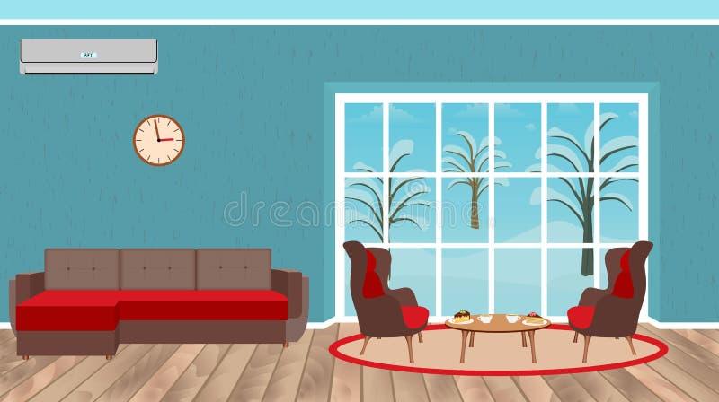 Żywy izbowy wewnętrzny projekt z kanapą, karłami, deseru stołem, lotniczym conditioner i krajobrazem na zewnątrz okno, ilustracji