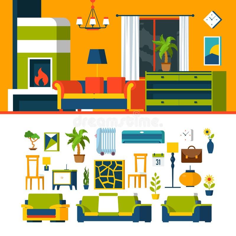 Żywy izbowy wewnętrzny przedmiota konstruktora szablon v royalty ilustracja