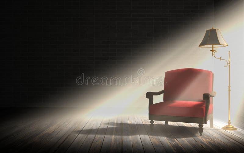 Żywy izbowy wnętrze, czerwony karło i klasyczna podłogowa lampa w ciemnym pokoju z światło słoneczne promieniami, obraz stock