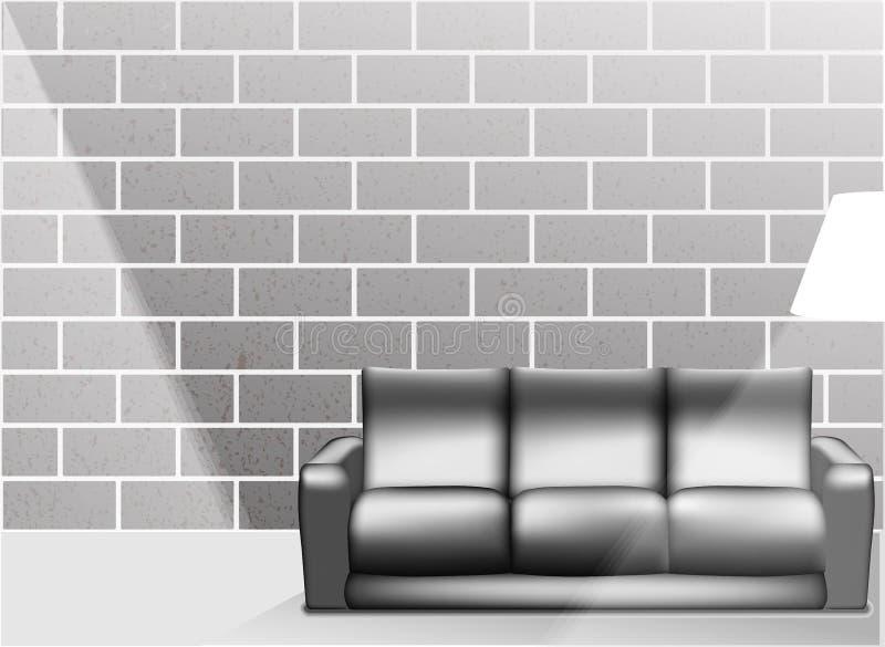 Żywy izbowy wnętrze w czarny i biały stylu - Wektorowa ilustracja ilustracja wektor