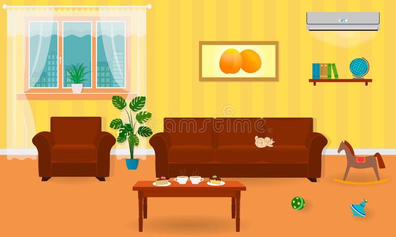 Żywy izbowy wnętrze w jaskrawych kolorach wliczając kanapy, karło, stolik do kawy royalty ilustracja