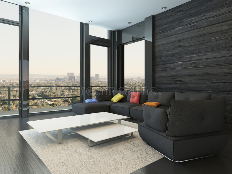 Żywy izbowy wnętrze z czarną leżanką z barwionymi poduszkami ilustracji
