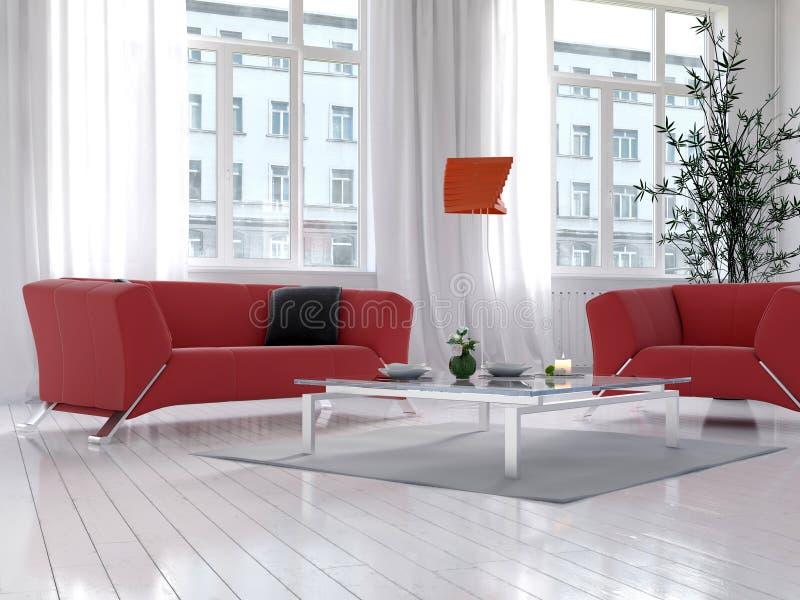 Żywy izbowy wnętrze z czerwoną leżanką i podłogową lampą ilustracja wektor