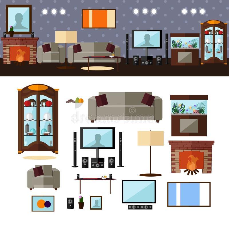 Żywy izbowy wnętrze z meble wektor ilustracji