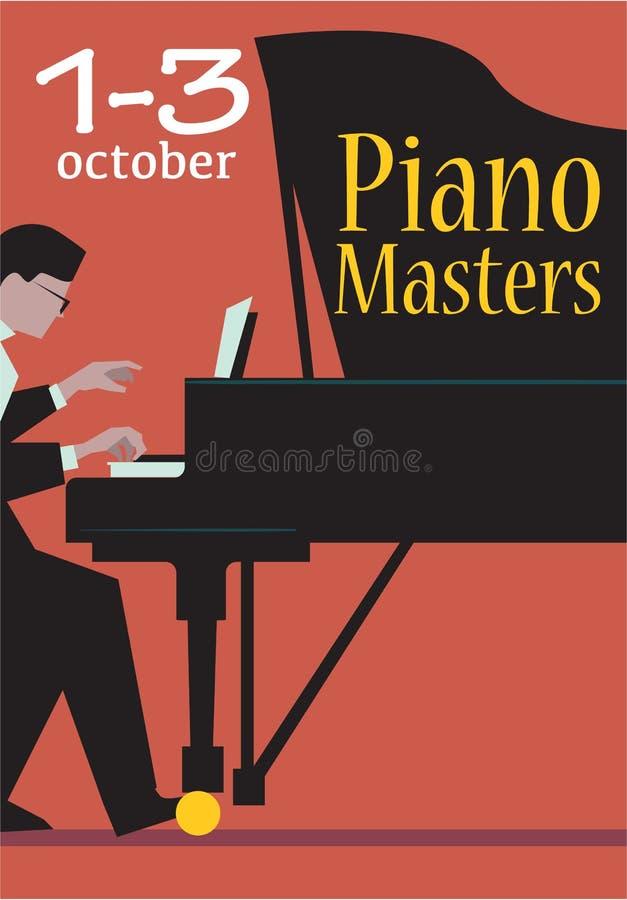 Żywy koncert pianino Ćwiczy Wektorowego plakat ilustracji