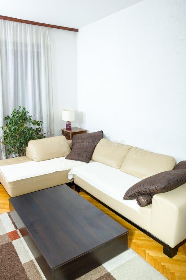 Żywy pokój lub wnętrze z projektem z sof nowożytnym i eleganckim fotografia royalty free