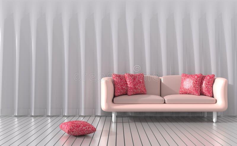 Żywy pokój mebluje z meblarskim ` s kolorem miłość dla walentynki ilustracji