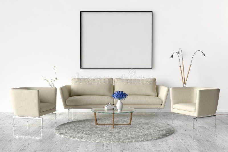 Żywy pokój na ścianie - pusta obrazek rama ilustracji