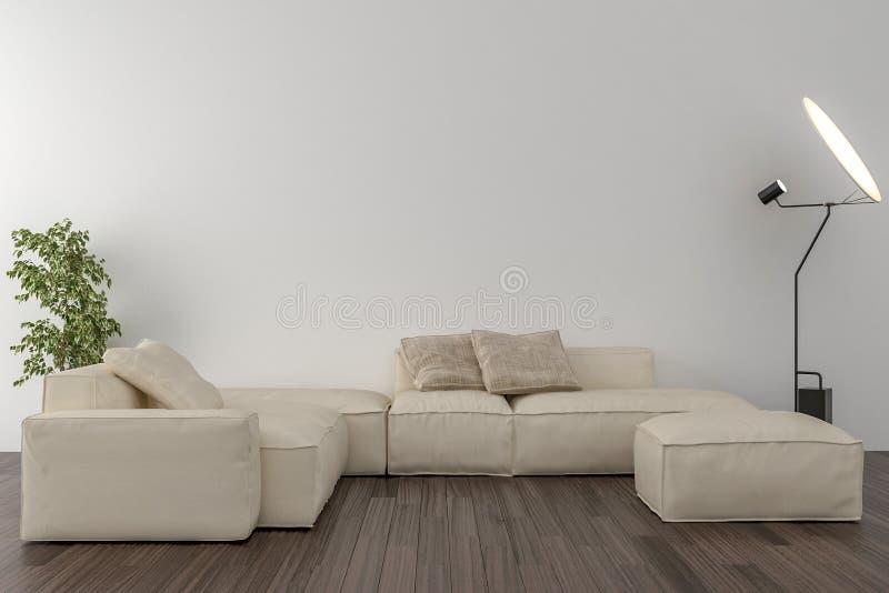Żywy pokój - pusta ściana w tle royalty ilustracja
