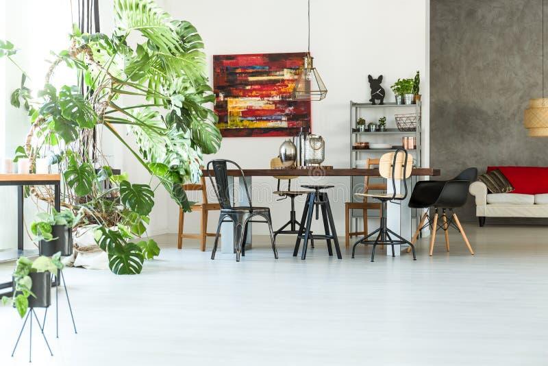 Żywy pokój z dużo kwitnie obraz stock