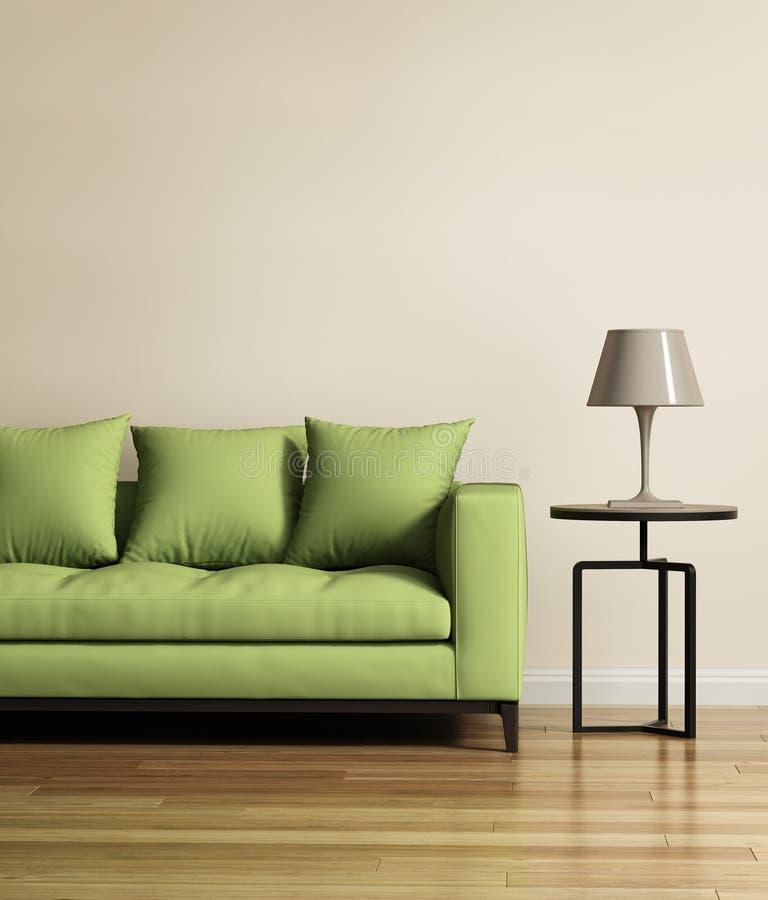 Żywy pokój z jasnozieloną kanapą fotografia stock