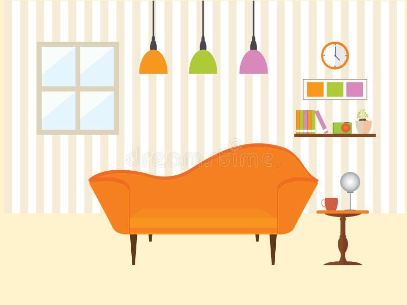Żywy pokój z kanapa meble royalty ilustracja