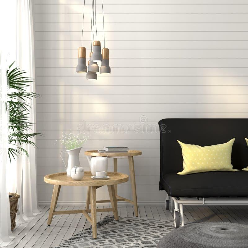 Żywy pokój z kanapy i betonu świecznikiem ilustracja wektor